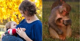 The author gazing with her son (left); a rhesus monkey mother gazing with her infant. Photo credits: Sarah Burns-Spielvogel (left) and Peggy O'Neill-Wagner (right).